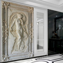 Customized 3D Stereoscopic Relief Angel Nude Statue Mural Wallpaper Entrance Hallway Corridor Backdrop Wallpaper Wall Covering