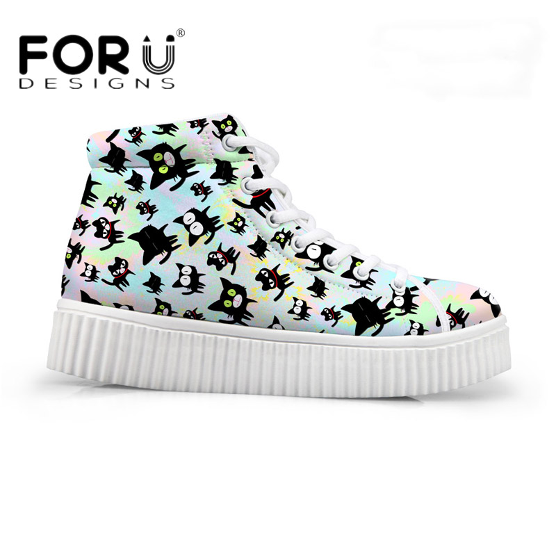 FORUDESIGNS 2018 Fashion Women High Top Platform Shoes Casual 3D Cute Animal Cat Print Breathable Flat Shoes for Teenager Girls<br>
