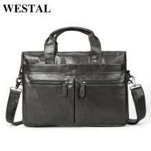 WESTAL Briefcase Men Leather Luxury Handbags Men Bags Genuine Leather Laptop Brown Designer Business Fashion Briefcases 9005(China)