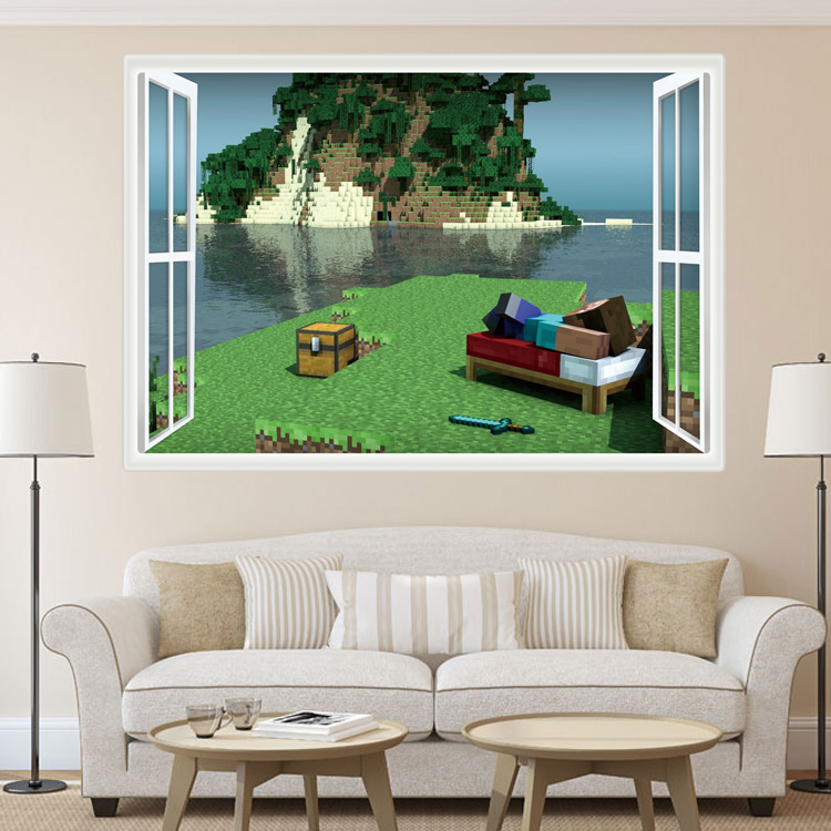 HTB1KQ.QiYsTMeJjSszdq6AEupXaj - Newest Minecraft Wall Stickers 3D Wallpapers Kids Room Decals Minecraft Steve Home Decoration Popular Games Home Free Shipping