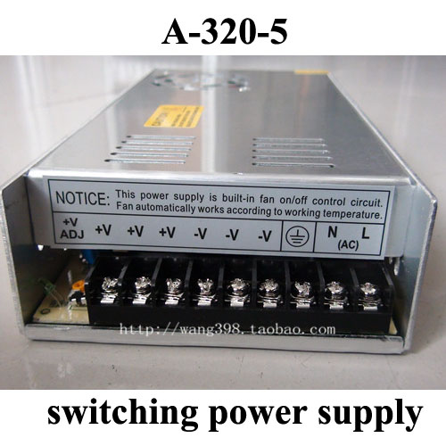 Switching Power Supply A-320-5 Single Output 320W 5V 60A for LED Display Embroidery Engraver Printer Plasma CNC Router Kits<br>