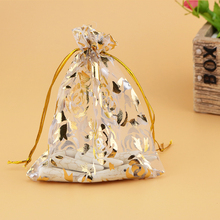 Big Wholesale 500pcs/lot Gold Rose Print Organza Bag 15x20cm,Wedding Jewelry Packaging Pouches,Nice Gift Bags,White Color