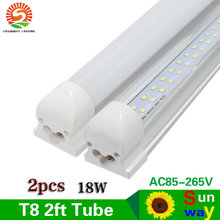 SUNWAY 2pcs T8 Integrated 2ft LED Tube Lights Double Row 60cm 600mm 2 ft Led Tube Light 96Leds AC85-265V 18W Include Free Parts