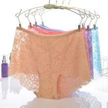 18 Colors Women Sexy Lace High Waist Transparent Underwears Boyshorts Lady Panties Briefs Lingerie Intimates Knickers(China)