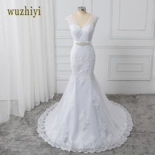 wuzhiyi vestidos de noiva Mermaid wedding dress 2017 with Beads Sashes Sexy v Neck wedding dresses White Bridal Gowns trouwjurk(China)