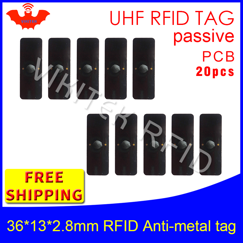 UHF RFID metal tag 915m 868m EPC 20pcs free shipping fixed-assets management 36*13*2.8mm small rectangle PCB passive RFID tags<br>
