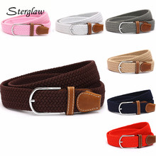 110cm Men fashion Canvas blets for Women Plain Webbing Metal Buckle Woven belt female Stretch Elasticity belts and strap D002(China)
