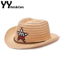 Fresco West cowboy niños paja sombrero estrella Sol sombrero formal del  jazz sombrero de vaquero verano 27b85c4cc85