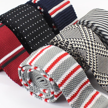 Narrow Knit Tie Flat Head Lovers Male Female Students 6cm Corbatas De Punto Party Dresses Striped Men's Neckties Narrow Knit Tie(China)