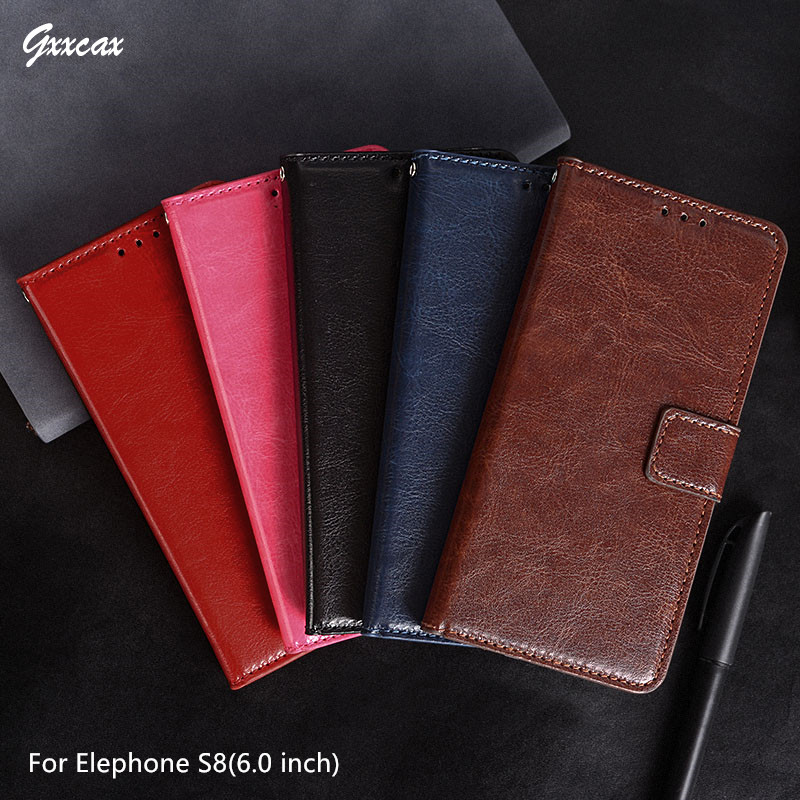Luxury Flip PU Cover Coque Elephone S8 Case Wallet Leather Cases Photo Frame Card Holder Stand Mobile Phone Bags
