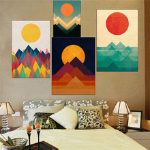 Nordic Style Colored Sunset Sunrise Unframed Fashionable Simple Style Inkjet Oil Canvas Painting Ink Painting Poster Wall Art