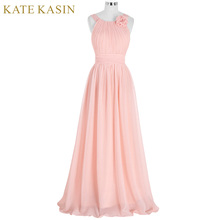 Elegant Pink Bridesmaid Dress Long Chiffon Vestido de Festa de Casamento Beach Bridesmaid Dresses 2017 Wedding Formal Dress