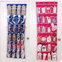 Free Shippign 24 Pocket Over Door Shoes Organizer Hanging Hanger Closet Space Save Storage Bag red/blue/green(China)
