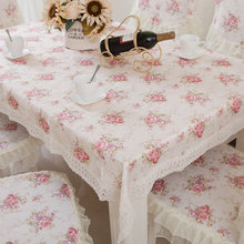 ONE LIKE YOU 1pcs Rectangle Pastoral Style Tablecloth Lace Tableware Mat Desk Cover Home Kitchen Decor - White + Pink