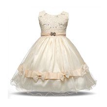 Vintage Lush Dresses For Girls 2017 New Designer Princess Lace Flower Christening Gown Children Kids Party Wear Girls Clothes