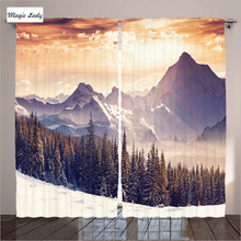 Insulated Curtains Living Room Bedroom The Evening Winter Landscape Surreal Overcast Sky Mountain Orange 2 Panels Set 145*265