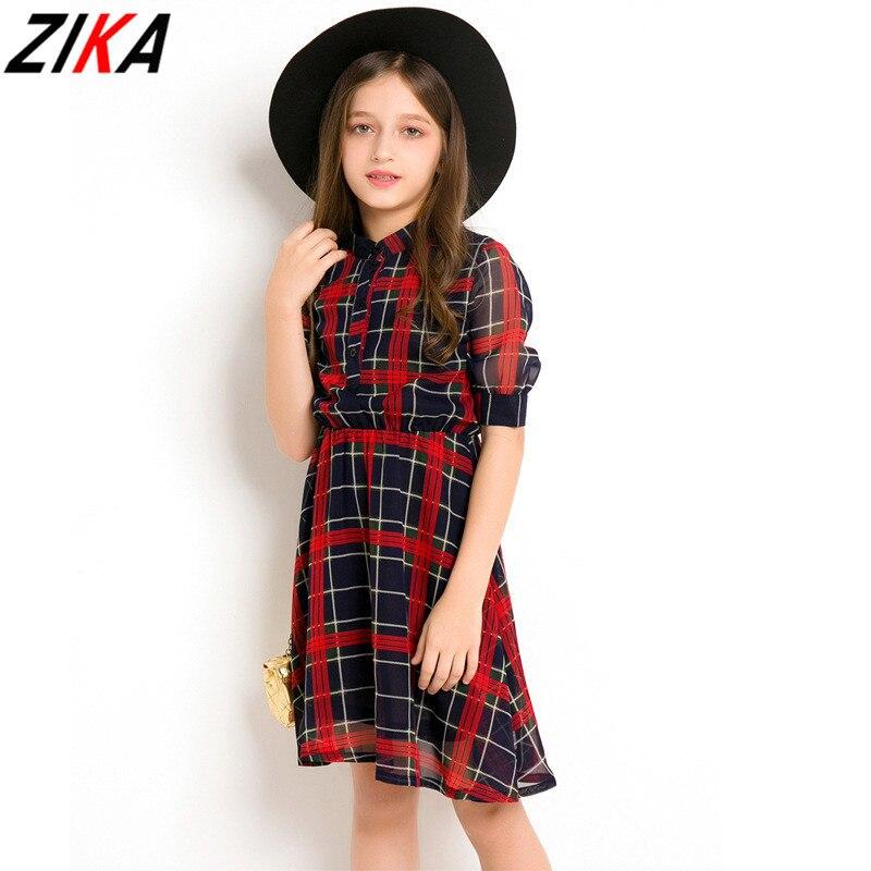 ZIKA Big Girls Plaid Dresses Polyester Kids Short Sleeve Costume Teens Girls Vestidos Dress Red Chiffon Children Clothes 6-15T<br>