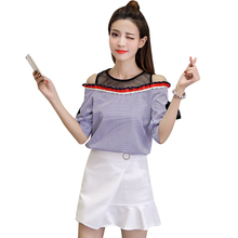 New Summer Women Shirts Bow Patchworklt Mesh Chiffon Striped Short Sleeve Han Fan Two Piece Blouse Shirt White 3006(China)