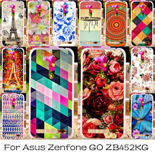 Silicone Plastic Phone Case For Asus Zenfone GO 2nd Gen ZB452KG ASUS_X014D ZB450KL 4.5'' Cover Colorful Flowers Shell Housing