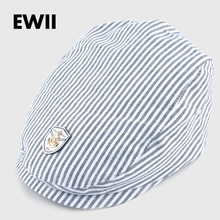 2017 Spring and autumn kids beret hats for boy cotton newsboy cap boina girl leisure striped hat bone child flat caps feminino(China)