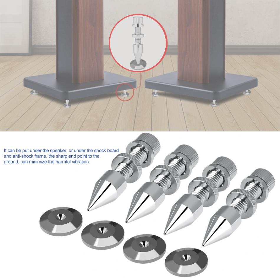 4 Pcs M8*60 Speaker Spike Isolation Spike Stand Foot Speaker Cone Base Pads