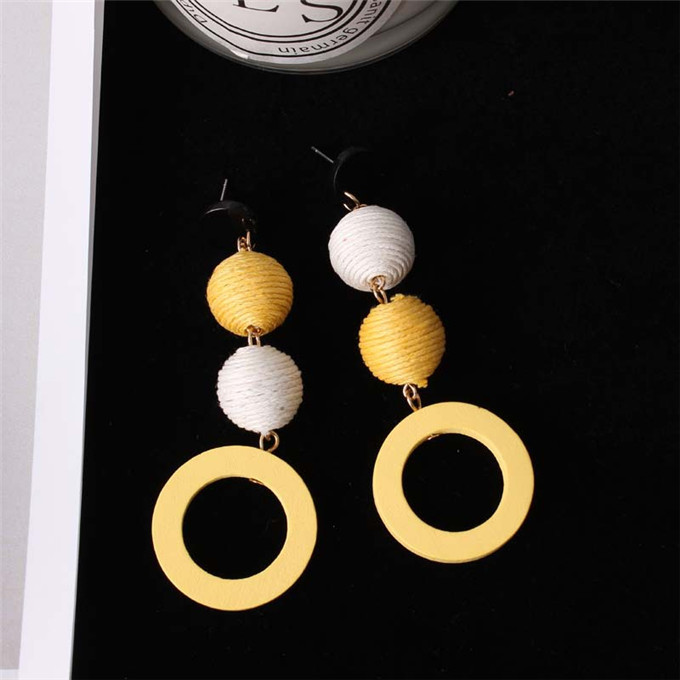 Fashion Korean Net Red Earrings Girls Retro Temperament Linen Hemp Rope Hit Color Ball Earrings Round Circle Wood Earring 10
