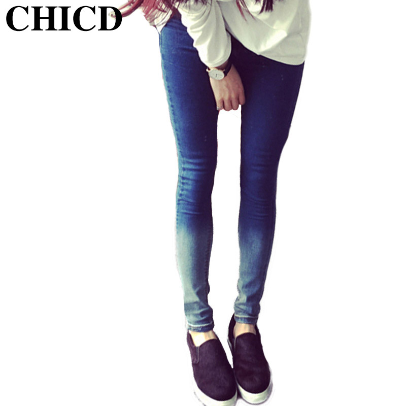 CHICD Women Fashion Jeans 2017 Gradient Blue Elastic Mid Waist Skinny Slim Jeans Trousers For Women Pencil Pants XP314Одежда и ак�е��уары<br><br><br>Aliexpress