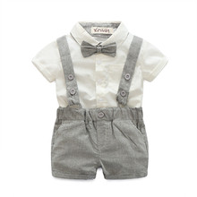 (CLOTH FOR LITTLE) Baby boys Clothing Sets infant bow tie+white Shirt+short overalls 3pcs/set newborn clothes grey black Straps