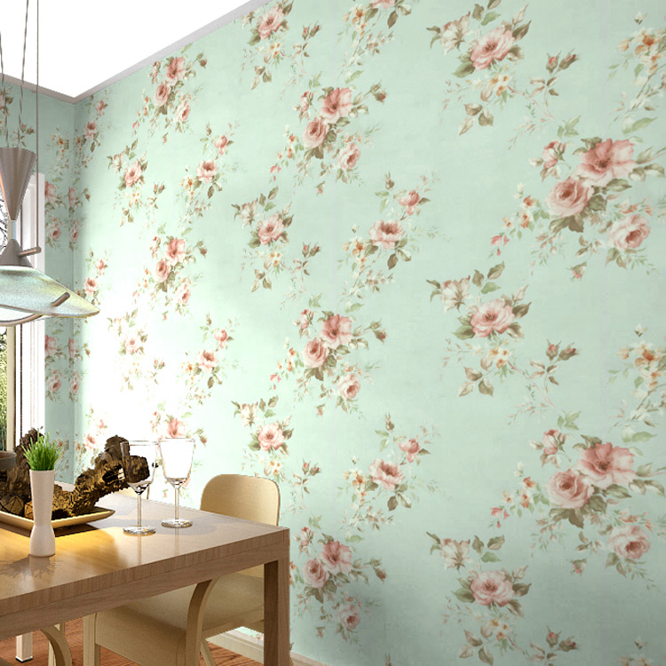 10m*53cm Blue and green American style retro pastoral big flower wallpaper warm romantic bedroom living room TV wall wallpaper<br>