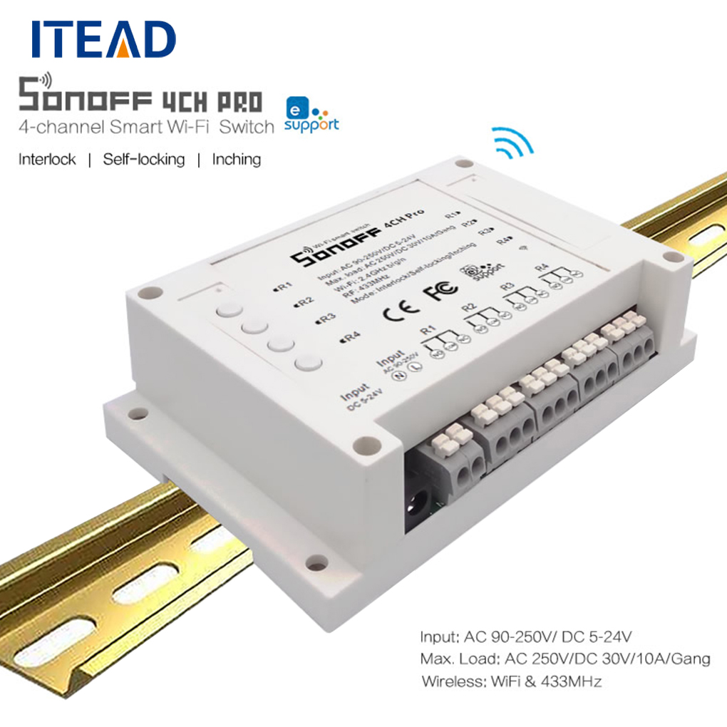 ITEAD Sonoff 4CH Pro 4 Gang 433MHZ Wireless Control WIFI Smart Switch Home Light Alexa Remote Switch 10A<br>
