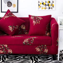 Red flowers stretch sofa covers for living room,multi-size home decor elastic couch sofa covers,anti-slip corner sofa covers