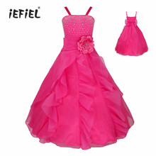 iEFiEL New 4-14Y Teenage Kids Girls Vestido Embroidered Flower Bow Formal Party Ball Gown Prom Princess Dresses For Children