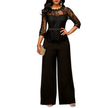 fdbf6b3162e JENYAGE Rompers Women Jumpsuit Elegant Overalls 2019 Office Ladies Clothes Formal  Wide Leg Long Pants Rompers