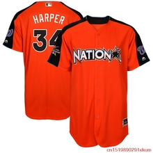 MLB Men's National League Bryce Harper best#34 Baseball Orange 2017 MLB All-Star Game Authentic Home Run Derby Jersey 03(China)
