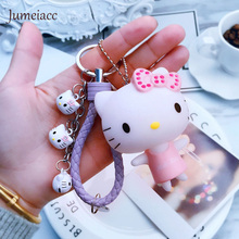 Jumeiacc Cute Pvc Cat Hello Kitty Doll Keychain Leather Rope Key Holder Metal Bell Key Chain Keyring Charm Bag Auto Pendant Gift
