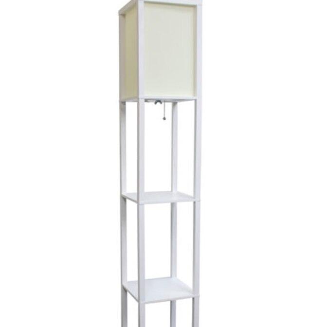 Simple Designs Floor Lamp Etagere Organizer Storage Shelf with Linen Shade (1)