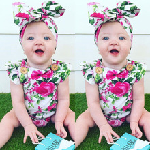 2017 Summer Floral Newborn Baby Girl Clothes Floral Romper Ruffles Sleeve Toddler Kids Jumpsuit Outfits Sunsuit Halter(China)