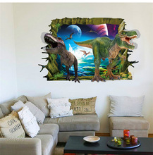 PVC new stereoscopic 3D cartoon dinosaur wall stickers for kids room living room background decorative wall stickers &