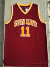 Steve Nash #11 Santa Clara Red Retro Throwback Stitched Basketball Jersey Sewn Camisa Embroidery Logos