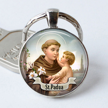 religious key chain St Anthony of Padua Art Saint Pendant glass cabochon key ring women accessories(China)