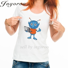 Babaseal Light Blue Alien Thumbs Up With Laptop Print T Shirt Queen Rihanna Female Shirts Sexy Tops For Women Exo Summer Tops(China)
