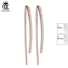ORSA JEWELS 2017 New Eco-Friendly Beautiful Rose Gold Color Earrings for Women Micro Paved CZ Earring For Girls and Women OE121