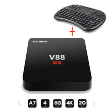 Best V88 Android Tv Box + I8 2.4G Wireless Keyboard Rockchip 3229 Quad-Core 1GB 8GB WiFi 4K Mini Media Player Android 5.1 Tv Box