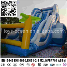 Cheap blue double lane palm tree giant inflatable water slide for pool
