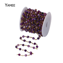 Buy 5 Meters Rosary Style Beaded Chain,Copper Wire Wrapped Agates Bead Rosary Chain Faceted Round Purple Beads Jewelry Wholesale for $19.79 in AliExpress store
