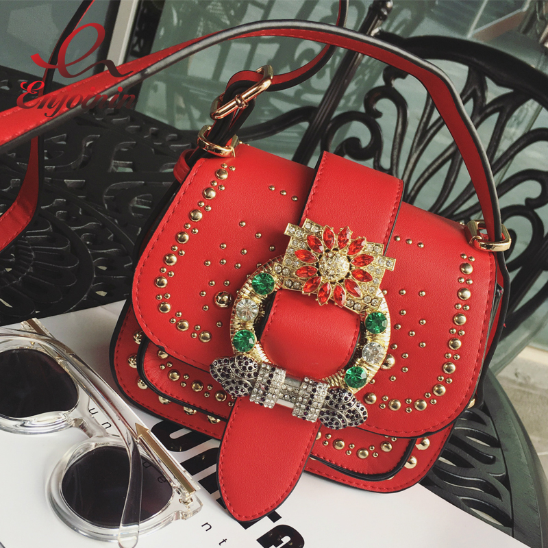 New Luxury diamond rivet fashion vintage ladies saddle bag shoulder bag womens purse handbag messenger bag across the body flap<br><br>Aliexpress