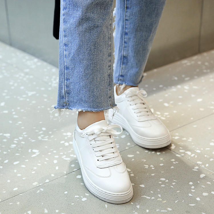 17 Women White Shoes Autumn Winter Soft Comfortable Casual Shoes Flats Platform Sneakers Real Leather Shoes Sapato Feminino 4