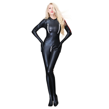 Buy Hot Sexy lingerie Women Black PU Party Latex Temptation Fetish Bodysuit Erotic Lingerie Sexy Gloves Open Crotch Plus Size 2018