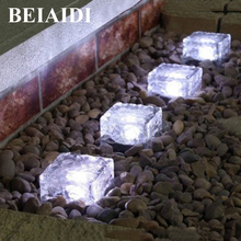 BEIAIDI 5pcs/Lot Glass Brick Rock Solar Underground Buried Lamp IP68 Outdoor Garden Pathway Floor Deck Lights Road Stud Light