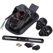 Black 12V 20W Rear Fender Custom 3D Skull Tail Light led Skulls Turn Signal For Yamaha Raider Road Star Royal Star Roadliner